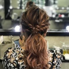 ローポニーテール 結婚式 ロング ヘアセット ヘアスタイルや髪型の写真・画像