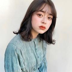 韓国ヘア フェミニン 鎖骨ミディアム ロブ ヘアスタイルや髪型の写真・画像