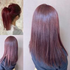 ガーリー ブリーチ必須 韓国風ヘアー ベリーピンク ヘアスタイルや髪型の写真・画像