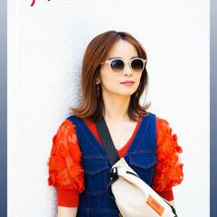 夏 オレンジ 切りっぱなしボブ ストリート ヘアスタイルや髪型の写真・画像