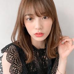 デジタルパーマ ひし形シルエット アンニュイほつれヘア ミディアム ヘアスタイルや髪型の写真・画像