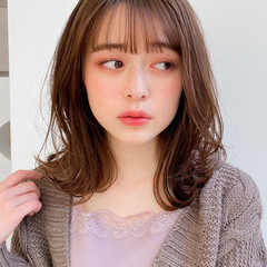 外ハネ ミディアム モテ髪 アンニュイほつれヘア ヘアスタイルや髪型の写真・画像