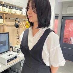 ボブ 韓国ヘア 黒髪 シースルーバング ヘアスタイルや髪型の写真・画像