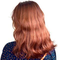 フェミニン アプリコットオレンジ オレンジ オレンジカラー ヘアスタイルや髪型の写真・画像