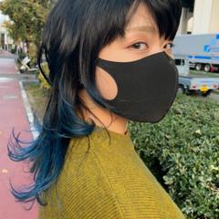 ストリート ブルー ウルフカット グラデーションカラー ヘアスタイルや髪型の写真・画像