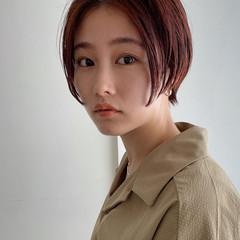 ナチュラル ショート ハンサムショート オレンジカラー ヘアスタイルや髪型の写真・画像
