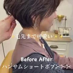 ミニボブ フェミニン ショートヘア ショートボブ ヘアスタイルや髪型の写真・画像