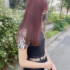 ブリーチオンカラー ロング ピンク ブリーチカラー ヘアスタイルや髪型の写真・画像