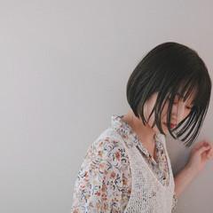 切りっぱなしボブ ミニボブ 黒髮 黒髪 ヘアスタイルや髪型の写真・画像