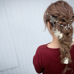 フェミニン 編みおろしヘア ロング ロープ編みアレンジヘア ヘアスタイルや髪型の写真・画像