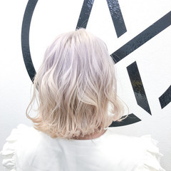 ブリーチカラー ホワイトブリーチ ブリーチ ブリーチオンカラー ヘアスタイルや髪型の写真・画像