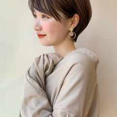ミニボブ 耳掛けショート ショートボブ ショートヘア ヘアスタイルや髪型の写真・画像
