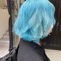 セミロング ガーリー ブルー ブリーチ ヘアスタイルや髪型の写真・画像