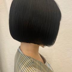ミニボブ ボブ アッシュブラウン ネイビーブルー ヘアスタイルや髪型の写真・画像