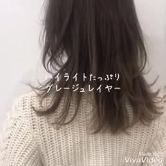 セミロング イルミナカラー レイヤーヘアー デート ヘアスタイルや髪型の写真・画像