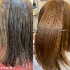 クセ 髪質改善 オレンジベージュ 艶髪 ヘアスタイルや髪型の写真・画像