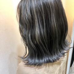 ホワイトハイライト ボブ エレガント コントラストハイライト ヘアスタイルや髪型の写真・画像