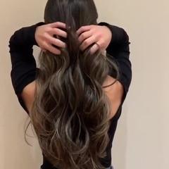 グラデーションカラー 大人ハイライト 地毛ハイライト ロング ヘアスタイルや髪型の写真・画像