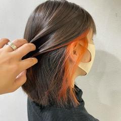 ナチュラル 切りっぱなしボブ インナーカラー ミニボブ ヘアスタイルや髪型の写真・画像