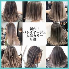 グレージュ エアータッチ グラデーションカラー バレイヤージュ ヘアスタイルや髪型の写真・画像