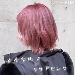 ボブ ウルフカット ラベンダーピンク ベリーピンク ヘアスタイルや髪型の写真・画像