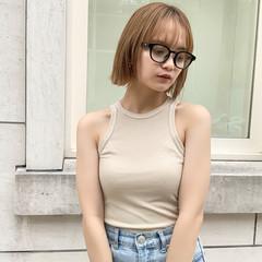 韓国ヘア 外国人風カラー ミルクティーベージュ ストレート ヘアスタイルや髪型の写真・画像