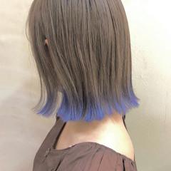裾カラー ボブ 切りっぱなしボブ ハイライト ヘアスタイルや髪型の写真・画像