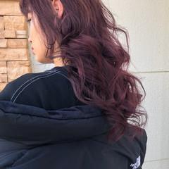ベリーピンク ピンクパープル デザインカラー ロング ヘアスタイルや髪型の写真・画像