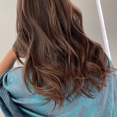 グラデーションカラー ロング エアータッチ バレイヤージュ ヘアスタイルや髪型の写真・画像