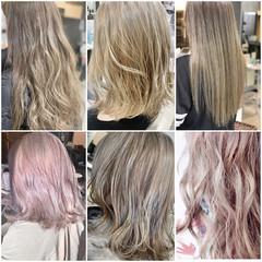ハイトーンカラー ストリート ヌーディベージュ セミロング ヘアスタイルや髪型の写真・画像