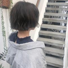 抜け感 パーマ ボブ 透け感ヘア ヘアスタイルや髪型の写真・画像