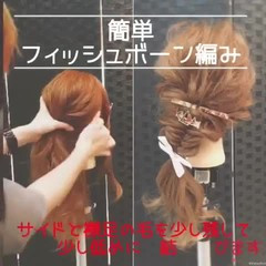 ヘアアレンジ 編みおろし 編み込み セミロング ヘアスタイルや髪型の写真・画像