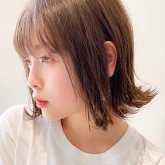 小顔 フェミニン 外ハネ ボブ ヘアスタイルや髪型の写真・画像