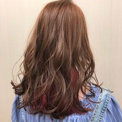 ロング ピンクアッシュ ガーリー ピンク ヘアスタイルや髪型の写真・画像