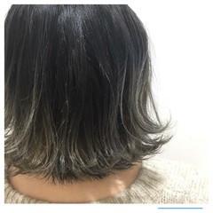 グレージュ ボブ ナチュラル ハイライト ヘアスタイルや髪型の写真・画像