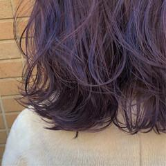 ラベンダーグレージュ ラベンダーアッシュ セミロング モード ヘアスタイルや髪型の写真・画像