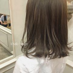 カーキ オリーブベージュ ボブ カーキアッシュ ヘアスタイルや髪型の写真・画像