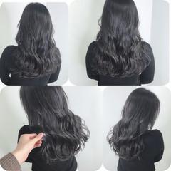 ネイビーブルー ブルーブラック ロング シルバーグレー ヘアスタイルや髪型の写真・画像