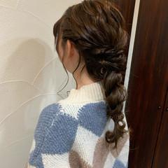 お呼ばれヘア ヘアセット ナチュラル 編みおろし ヘアスタイルや髪型の写真・画像