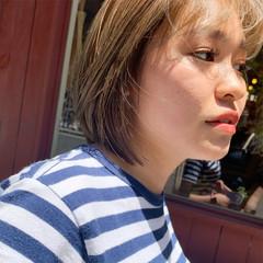 アッシュグレージュ ストリート ハイライト ショートボブ ヘアスタイルや髪型の写真・画像