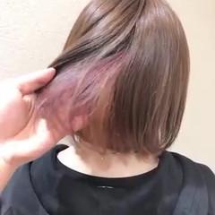 ミディアム インナーカラー フェミニン デザインカラー ヘアスタイルや髪型の写真・画像