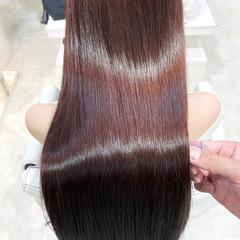 ロング 縮毛矯正 髪質改善トリートメント ナチュラル ヘアスタイルや髪型の写真・画像