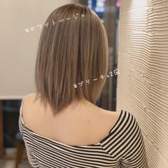 ミディアムレイヤー 圧倒的透明感 ダブルブリーチ ナチュラル ヘアスタイルや髪型の写真・画像