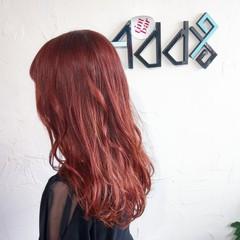 ロング 韓国風ヘアー エレガント ラズベリーピンク ヘアスタイルや髪型の写真・画像