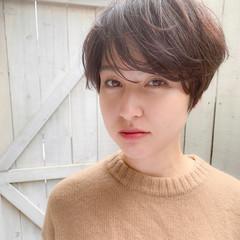 透明感カラー 大人可愛い 小顔ショート パーマ ヘアスタイルや髪型の写真・画像