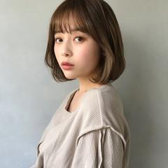 韓国ヘア フェミニン ミニボブ ボブ ヘアスタイルや髪型の写真・画像