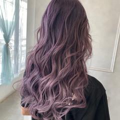 ロング バレイヤージュ グラデーションカラー ピンク ヘアスタイルや髪型の写真・画像
