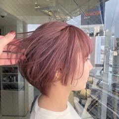 ショートボブ ピンク ショート フェミニン ヘアスタイルや髪型の写真・画像