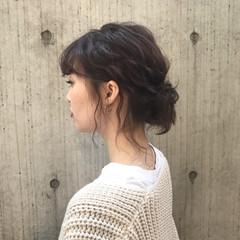 編み込み デート ゆるふわ ヘアアレンジ ヘアスタイルや髪型の写真・画像