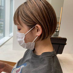 3Dハイライト ミニボブ ショートボブ ハイライト ヘアスタイルや髪型の写真・画像